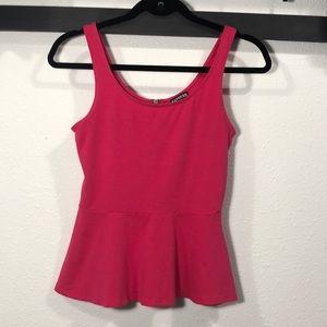 Express • Bright Pink Peplum Top with Back Zipper
